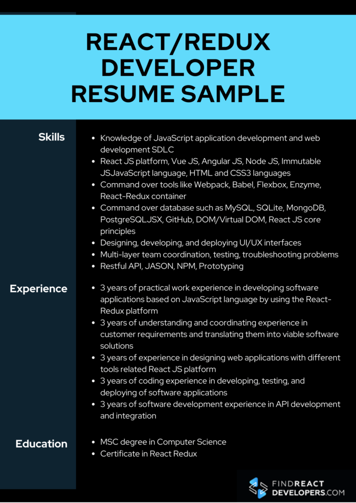 mid level reactjs developer resume sample