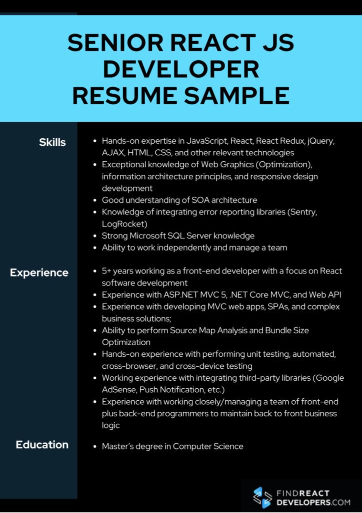 senior react developer resume sample